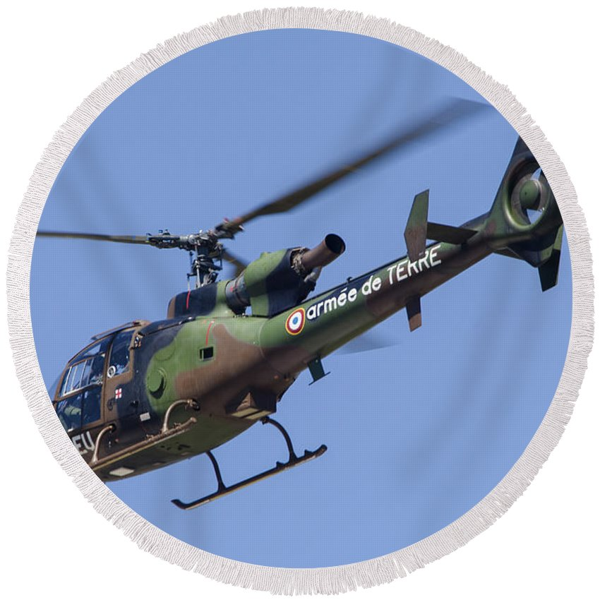 Horizontal Round Beach Towel featuring the photograph French Army Gazelle Helicopter by Timm Ziegenthaler