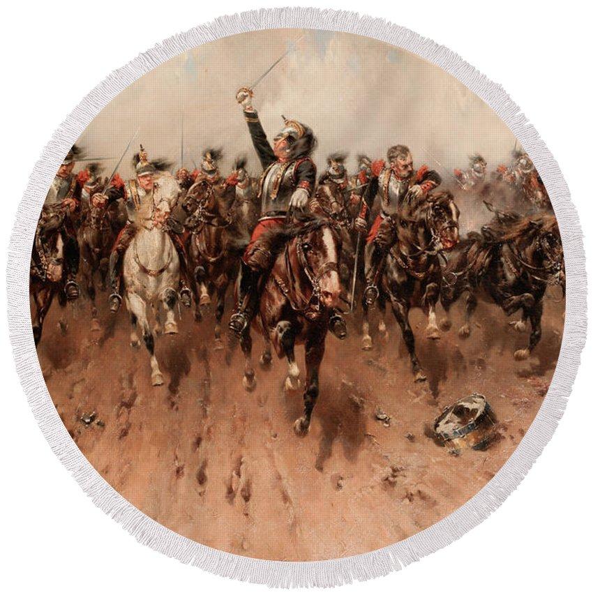 French Cavalry Charging Round Beach Towel featuring the painting French Cavalry Charging by Hermanus Willem Koekkoek