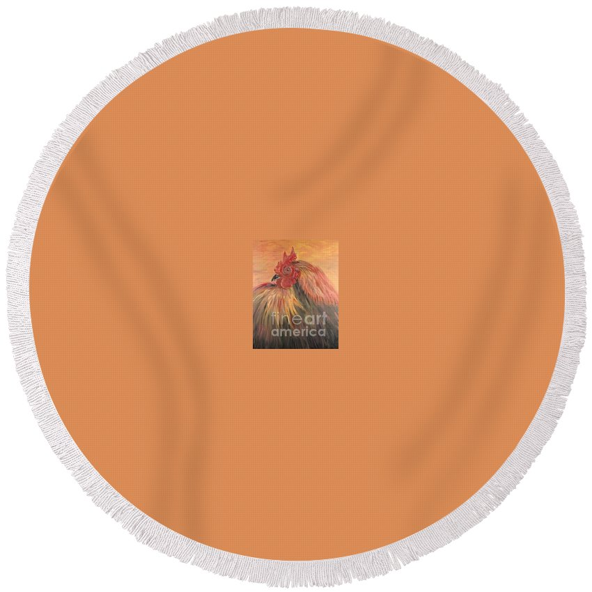 Rooster Round Beach Towel featuring the painting French Country Rooster by Nadine Rippelmeyer