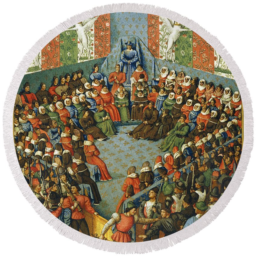 1458 Round Beach Towel featuring the photograph French Court, 1458 by Granger