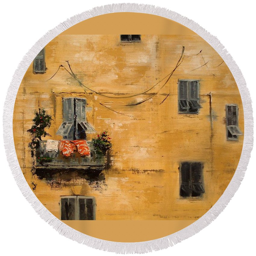 French Round Beach Towel featuring the painting French Laundry by Barbara Andolsek