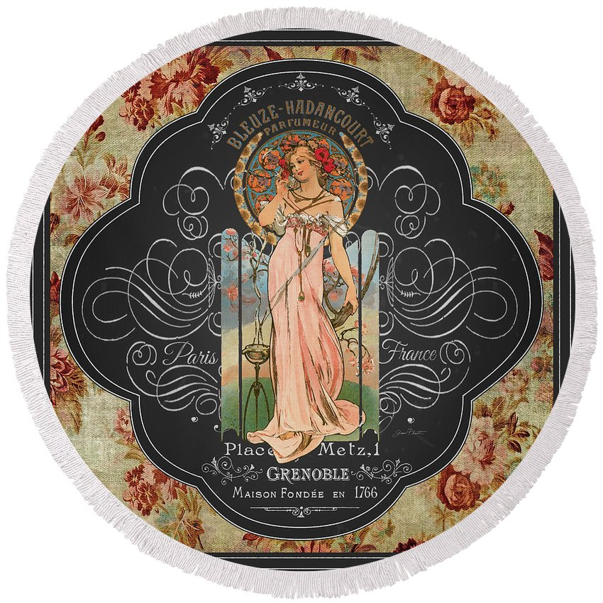 Digital Art Round Beach Towel featuring the painting French Perfume-jp3737 by Jean Plout