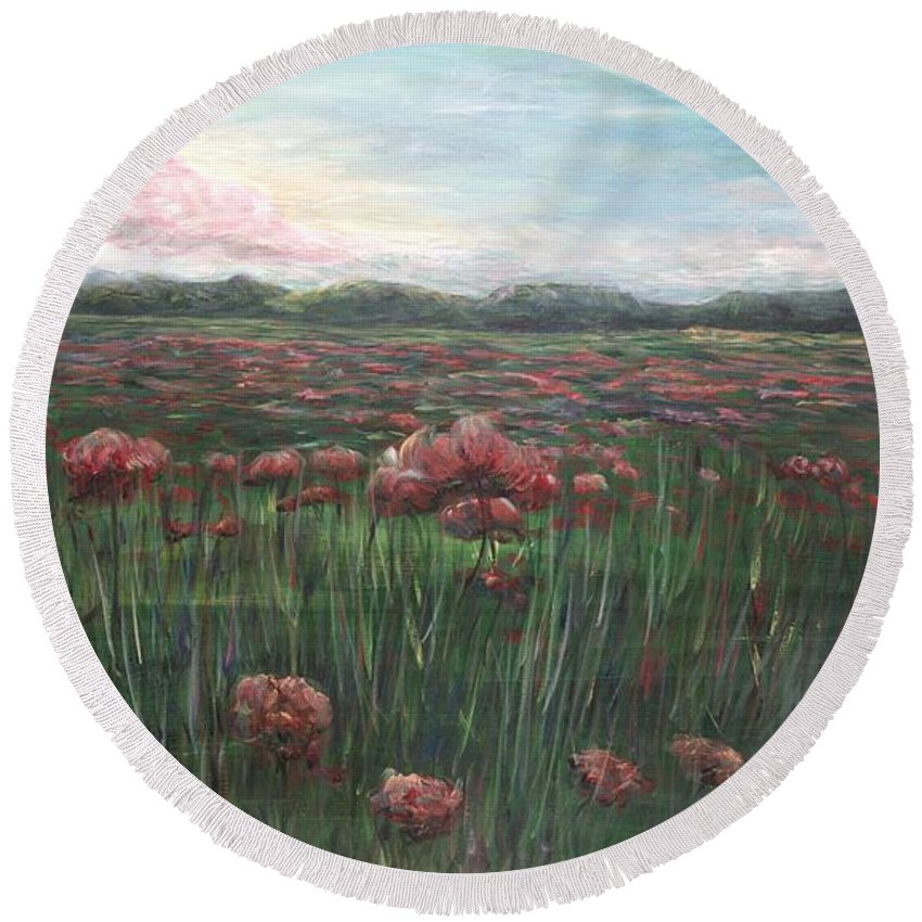France Round Beach Towel featuring the painting French Poppies by Nadine Rippelmeyer