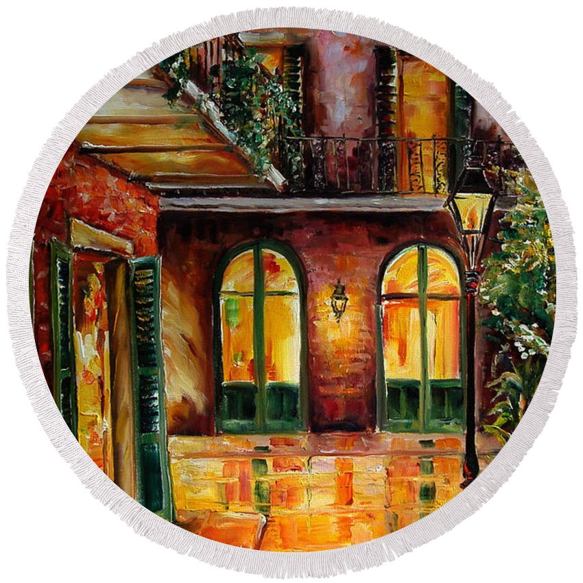 New Orleans Round Beach Towel featuring the painting French Quarter Alley by Diane Millsap