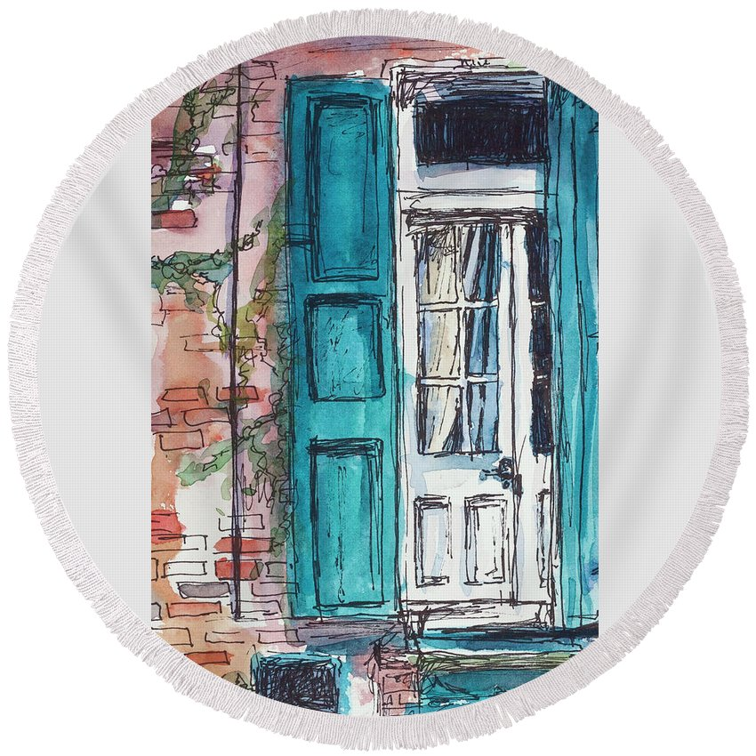 Blue Round Beach Towel featuring the painting French Quarter by Ava Obert