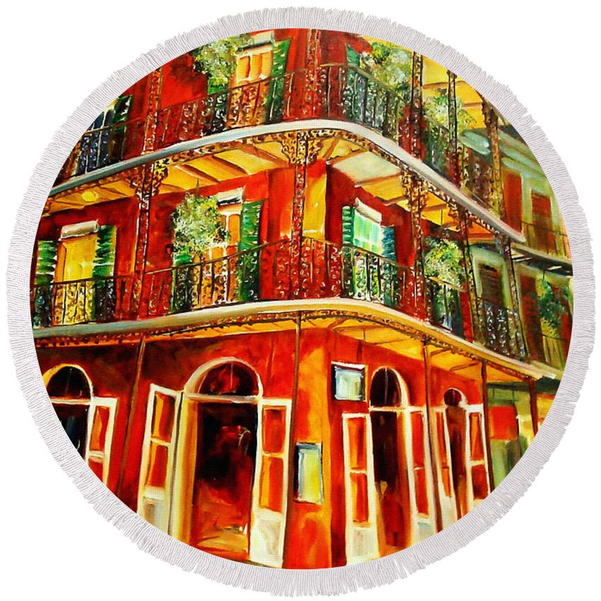 New Orleans Round Beach Towel featuring the painting French Quarter Corner by Diane Millsap