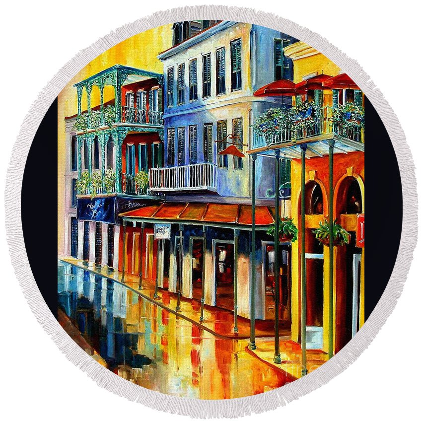 New Orleans Paintins Round Beach Towel featuring the painting French Quarter Sunrise by Diane Millsap