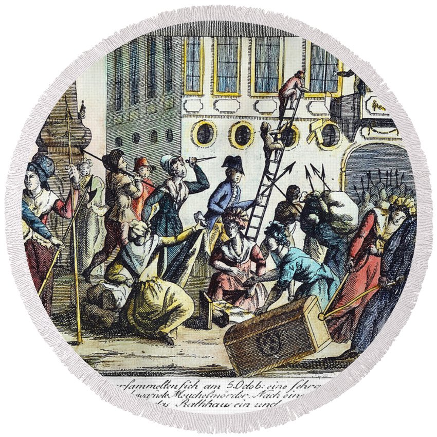 1789 Round Beach Towel featuring the photograph French Revolution, 1789 by Granger