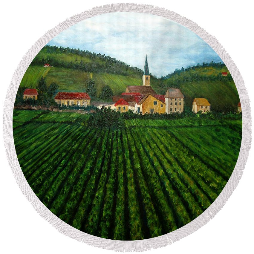 Acrylic Round Beach Towel featuring the painting French Village In The Vineyards by Nancy Mueller