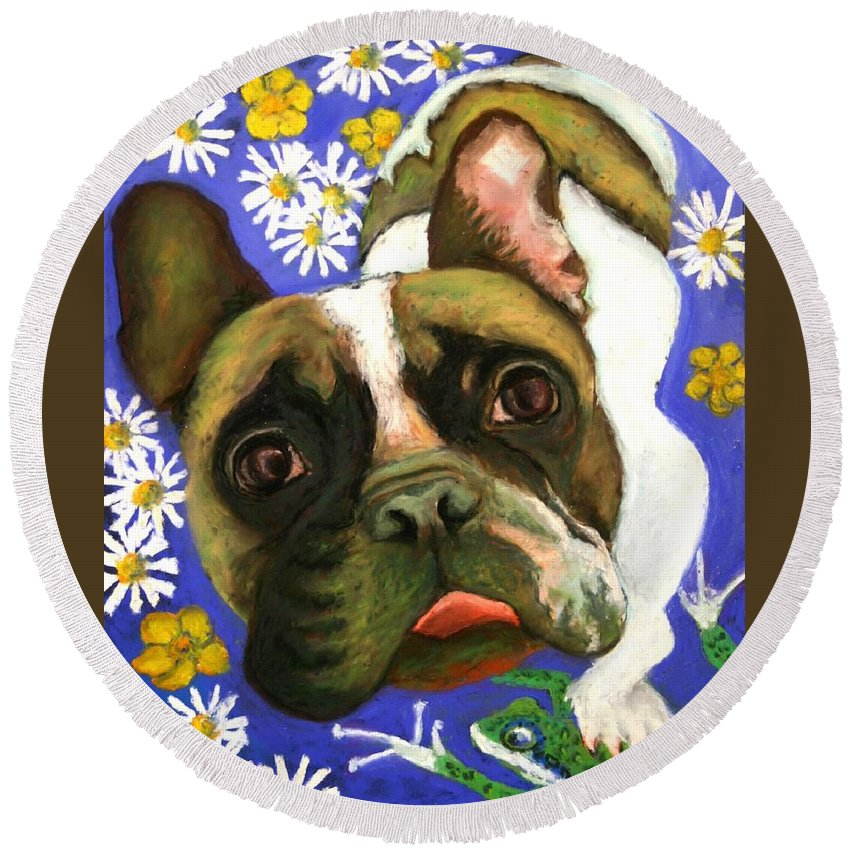 Pet Portrait Round Beach Towel featuring the painting Frenchie Plays With Frogs by Minaz Jantz