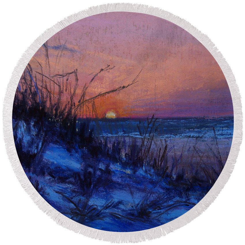 Landscape Round Beach Towel featuring the pastel Frenchy's Sunset by Susan Jenkins
