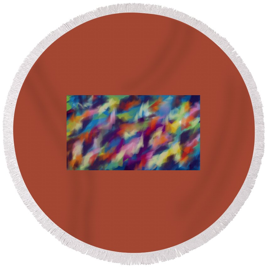 Abstraction Multicolored Round Beach Towel featuring the digital art Fresh Abstraction by Nadia Nova