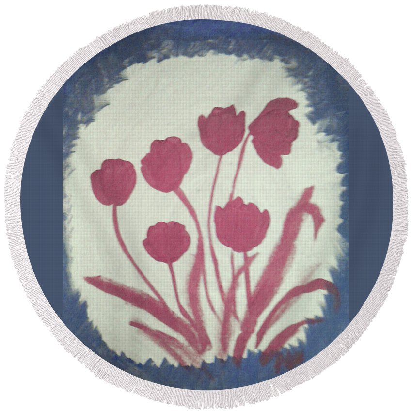 Floral Round Beach Towel featuring the painting Fresh Flowers- 1st In Series-morning Shadow by Barbara Searcy