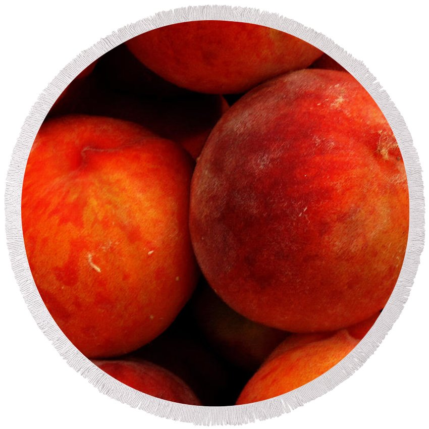 Fruit Round Beach Towel featuring the photograph Fresh Fuzzy Peaches by Ian MacDonald