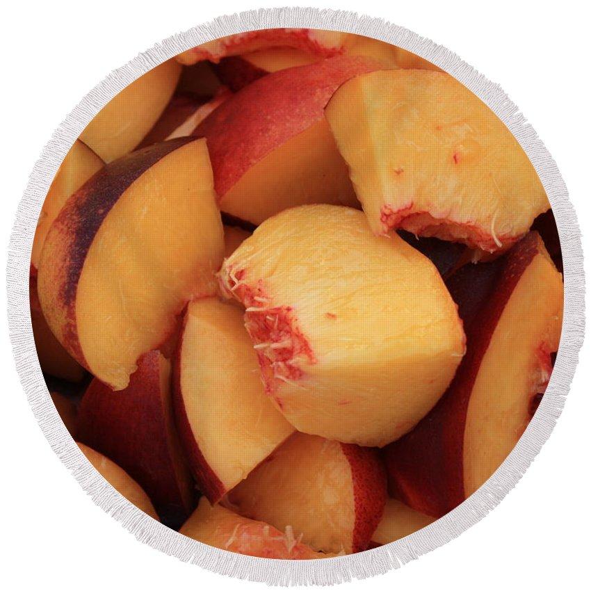 Peaches Round Beach Towel featuring the photograph Fresh Peaches by Carol Groenen