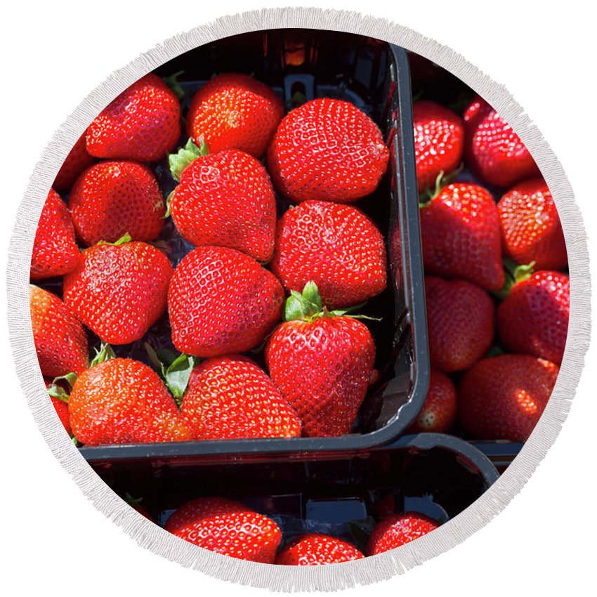 Fresh Round Beach Towel featuring the photograph Fresh Ripe Strawberries In Plastic Boxes by Louise Heusinkveld