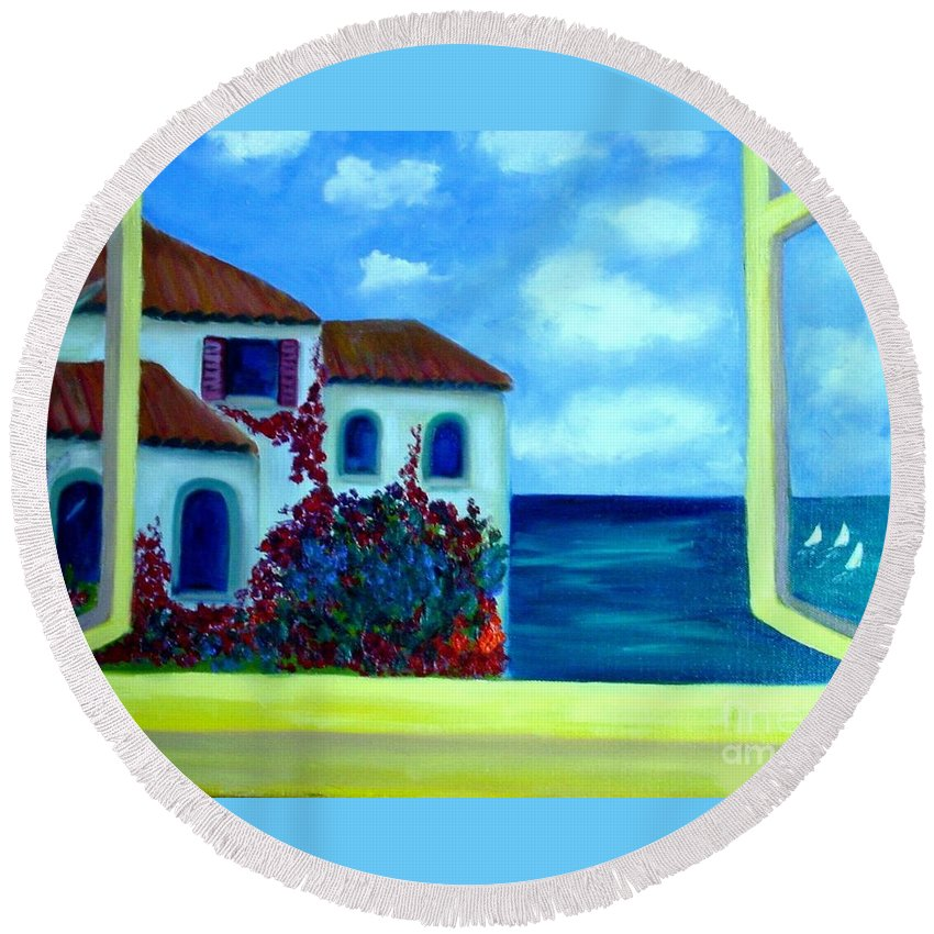 Seascape Round Beach Towel featuring the painting Fresh Sea Air by Laurie Morgan