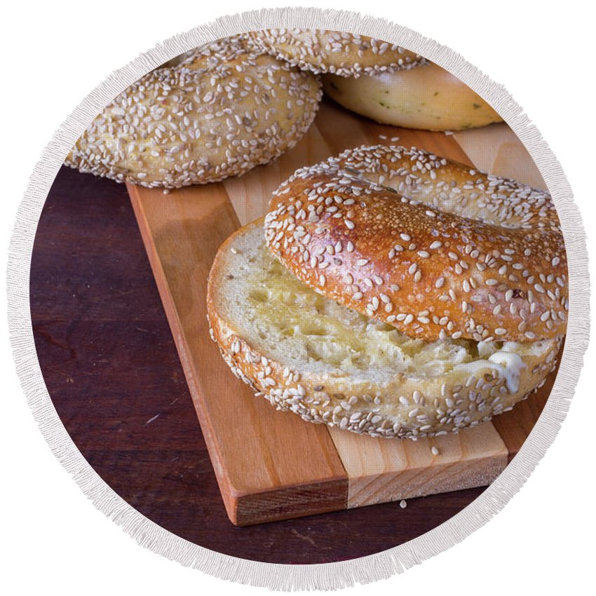 Food Round Beach Towel featuring the photograph Fresh Sesame Bagel by Edward Fielding