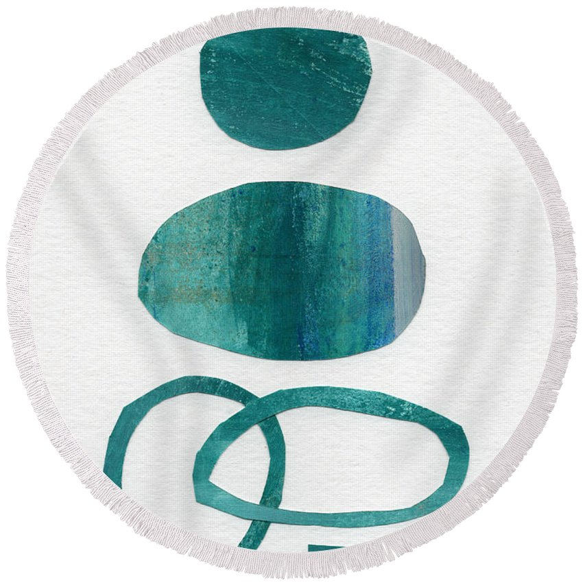 Abstract Art Round Beach Towel featuring the mixed media Fresh Water by Linda Woods