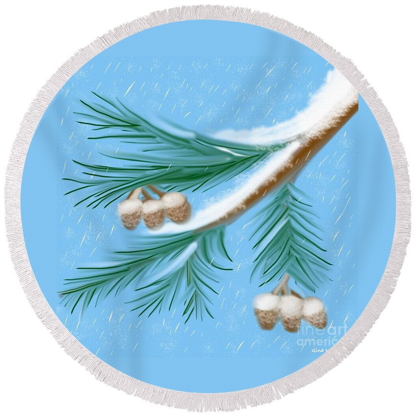 Winter Round Beach Towel featuring the painting Freshness by Gina Nicolae Johnson