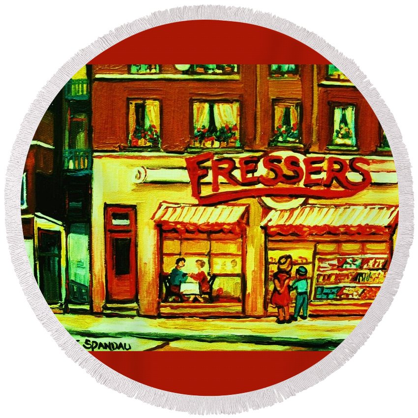 Fressers Round Beach Towel featuring the painting Fressers Takeout Deli by Carole Spandau