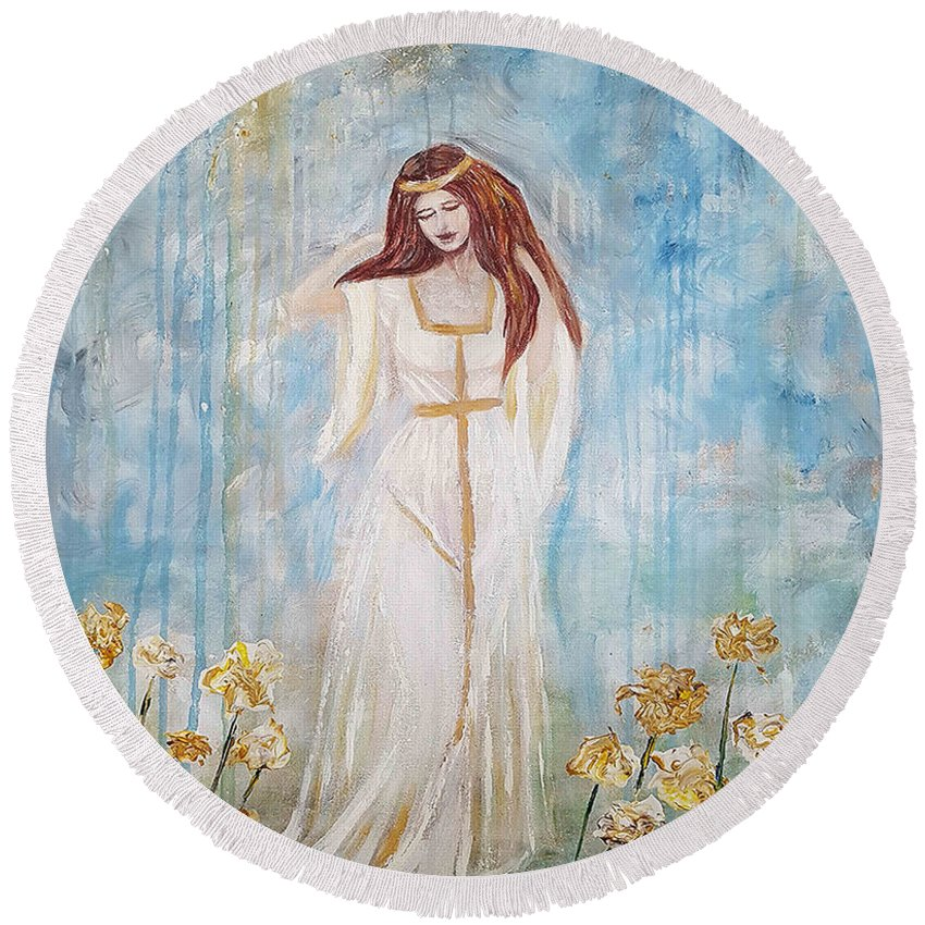 Round Beach Towel featuring the painting Freya - Goddess Of Love And Beauty by A B