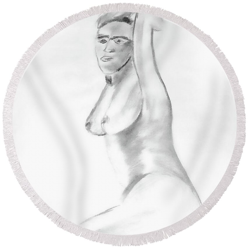 Female Round Beach Towel featuring the painting Frida by Donna Blackhall