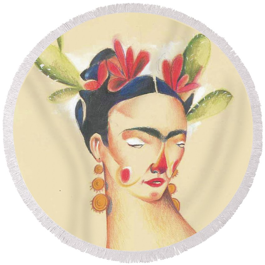 Portrait Round Beach Towel featuring the painting Frida Kahlo by AVF YAYA Andrea V Franceschi