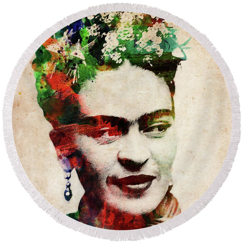 Frida Kahlo Round Beach Towel featuring the digital art Frida Kahlo Watercolor by Mihaela Pater