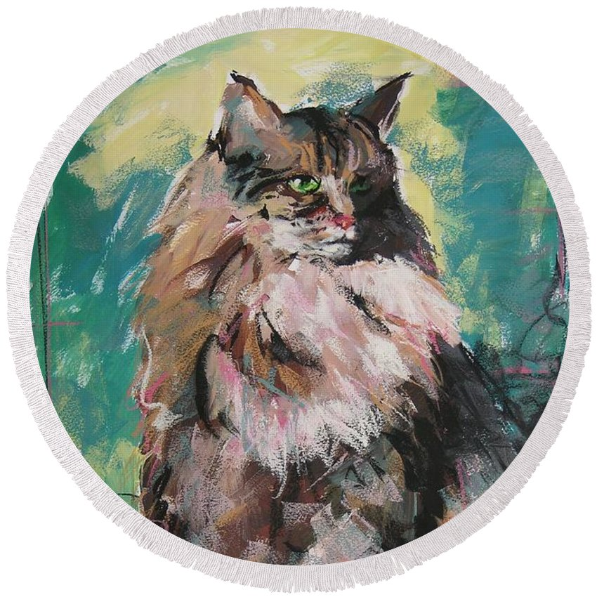 Cat Round Beach Towel featuring the painting Friday Lioness by Mary McInnis