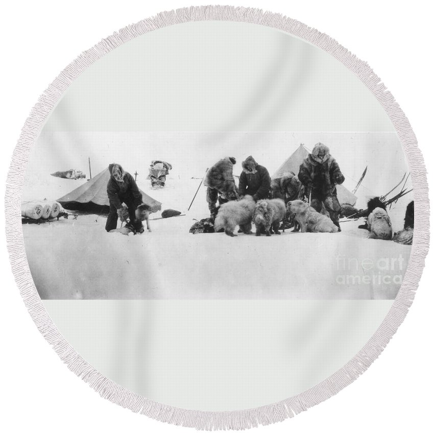 1890s Round Beach Towel featuring the painting Fridtjof Nansen (1861-1930) by Granger