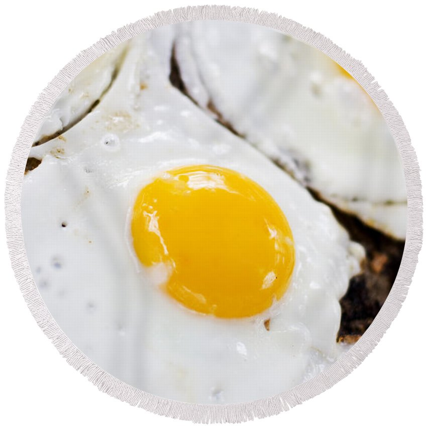 Barbecue Round Beach Towel featuring the photograph Fried Eggs by Jorgo Photography - Wall Art Gallery