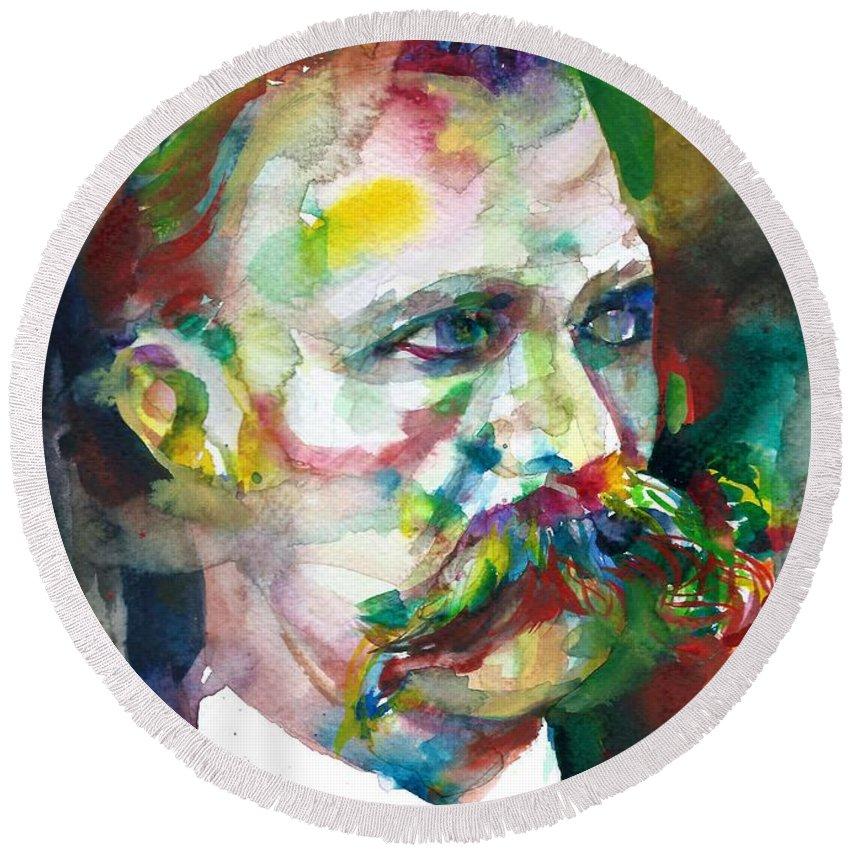 Nietzsche Round Beach Towel featuring the painting Friedrich Nietzsche - Watercolor Portrait.14 by Fabrizio Cassetta