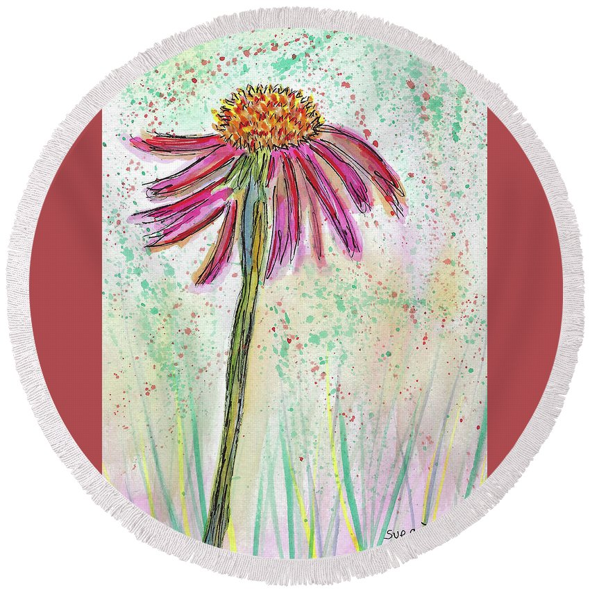 Watercolor And Ink Round Beach Towel featuring the painting Friendly Flower by Susan Campbell