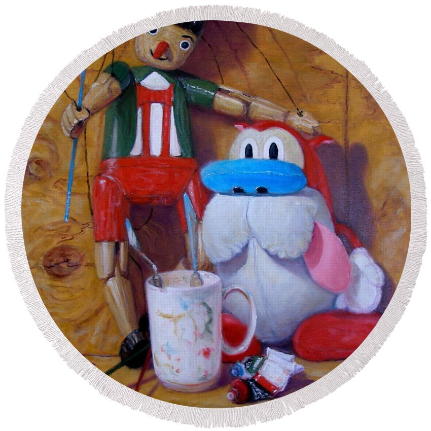 Realism Round Beach Towel featuring the painting Friends 2 - Pinocchio And Stimpy  by Donelli DiMaria