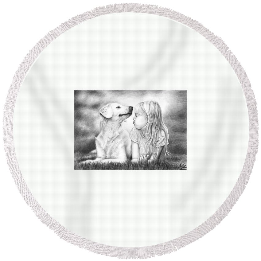 Dog Round Beach Towel featuring the drawing Friends by Nicole Zeug