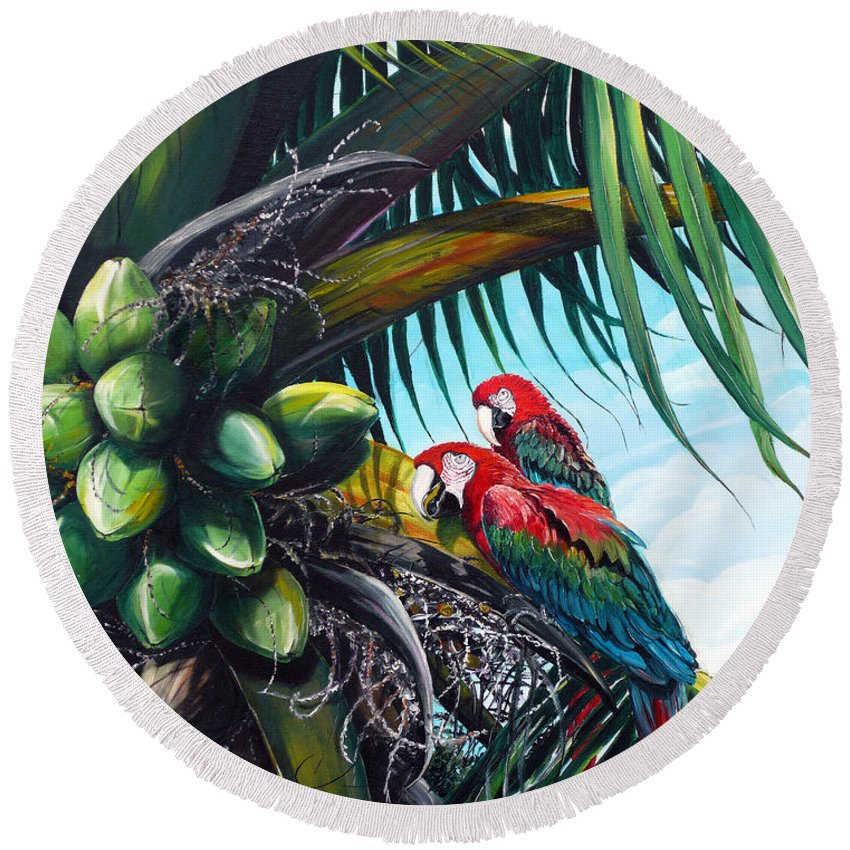 Macaws Bird Painting Coconut Palm Tree Painting Parrots Caribbean Painting Tropical Painting Coconuts Painting Palm Tree Greeting Card Painting Round Beach Towel featuring the painting Friends Of A Feather by Karin Dawn Kelshall- Best