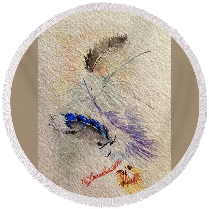 Artist Favorites Round Beach Towel featuring the painting Friends Of A Feather by Laurel Adams