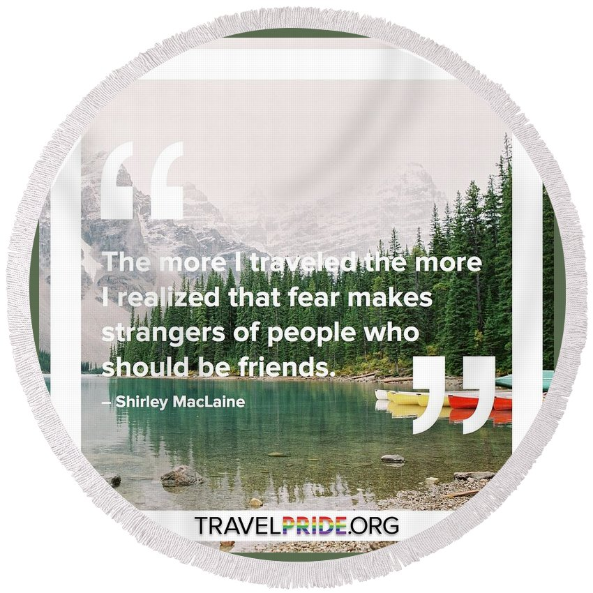 Travel Round Beach Towel featuring the digital art Friends by Travel Pride