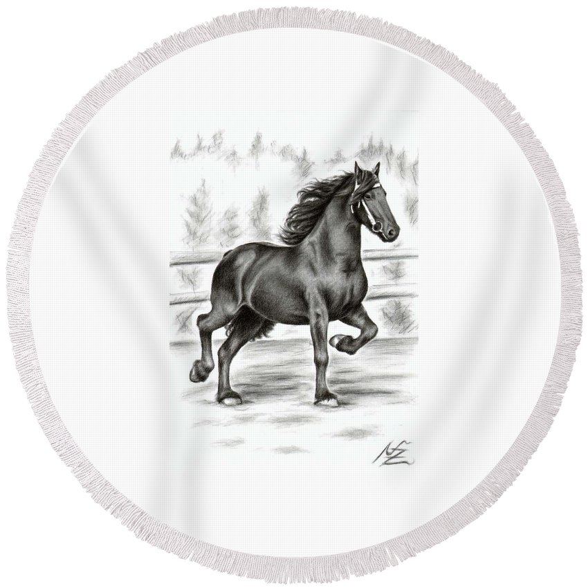 Horse Round Beach Towel featuring the drawing Friesian Horse by Nicole Zeug