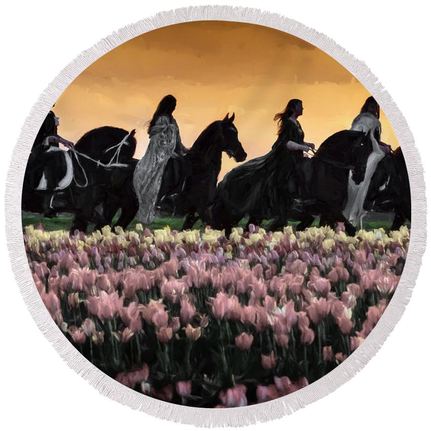 Friesians At Sunset Round Beach Towel featuring the photograph Friesians At Sunset by Wes and Dotty Weber