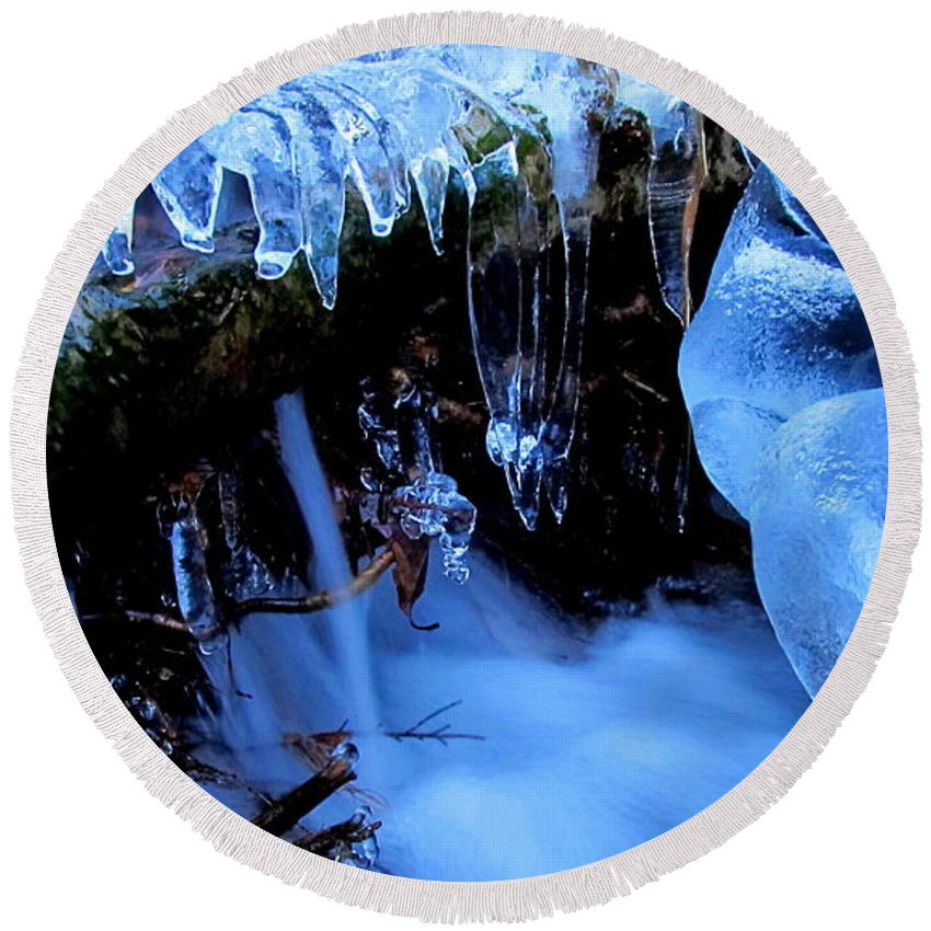 Ice Waterfall Cold Cascade Winter Waterscape Winter Stream Ice Water Quality Natural Ice Formations Nature Prints Blue Ice Images Natural Blue Ice Formation Blue Ice Prints Icescapes Frozen Landscapes Frozen Waterfalls Ice Falls Blue Ice Waterfallimages Blue Waterfalls Frozen Forest Cascade Woodland Wonders Blue Landscapes Blue Macro Falls Natural Ice Formations Blue Ice Cascades Blue Ice Sickles Frozen Falls Natural Inspiration Images Fresh Water Blue Water Blue Falls Cold Crystal Cascade Azul Agua Azul Aqua Blue Brook Quality Natural Resources Blue Crystal Waterfalls Blue Liquid Crystal Grren Design Office Art Wall Art Home Decoration Home Decor Office Decor Commercial Decoration Natural Design Green Interior Design Blue Color Scheme Blue Interior Design Awesome Interior Design Profesional Interior Design Affordable Art Affordable Interior Design Original Interior Design Natural Interior Design Talented Interior Design Inspirational Interior Design Blue Mood Art Monochromatic Blue Art Images Affordable Quality Prints Fine Art Prints Round Beach Towel featuring the photograph Frigid Flow by Joshua Bales