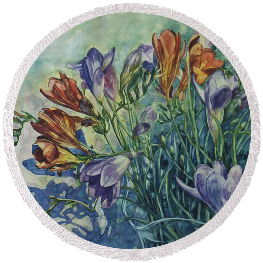 Flowers Round Beach Towel featuring the painting Frishias by Rick Nederlof