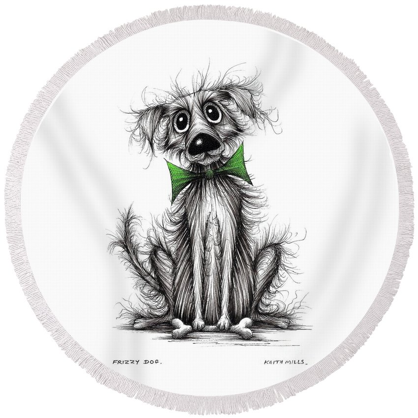 Fuzzy Fur Round Beach Towel featuring the drawing Frizzy Dog by Keith Mills