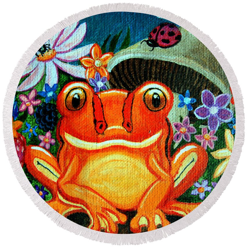 Frogs Round Beach Towel featuring the painting Frog And Flowers by Nick Gustafson