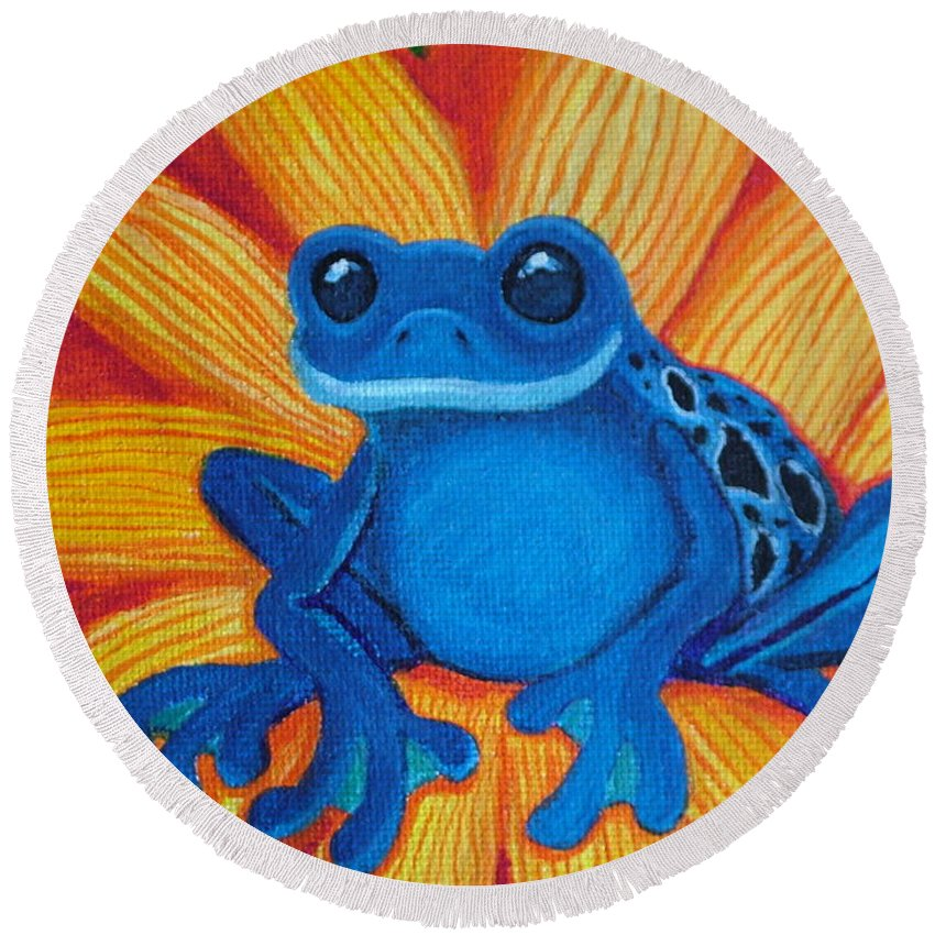 Frog And Flower Painting Round Beach Towel featuring the painting Frog And Lady Bug by Nick Gustafson