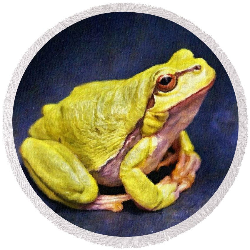 Frog Round Beach Towel featuring the painting Frog - Id 16236-105000-7516 by S Lurk
