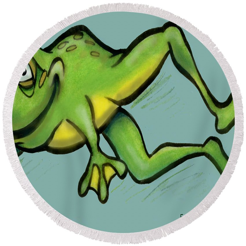 Frog Round Beach Towel featuring the greeting card Frog by Kevin Middleton