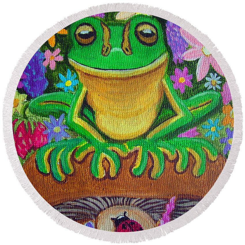 Frog Artwork Frog Painting Whimsical Artwork Green Frogs Round Beach Towel featuring the painting Frog On Mushroom by Nick Gustafson