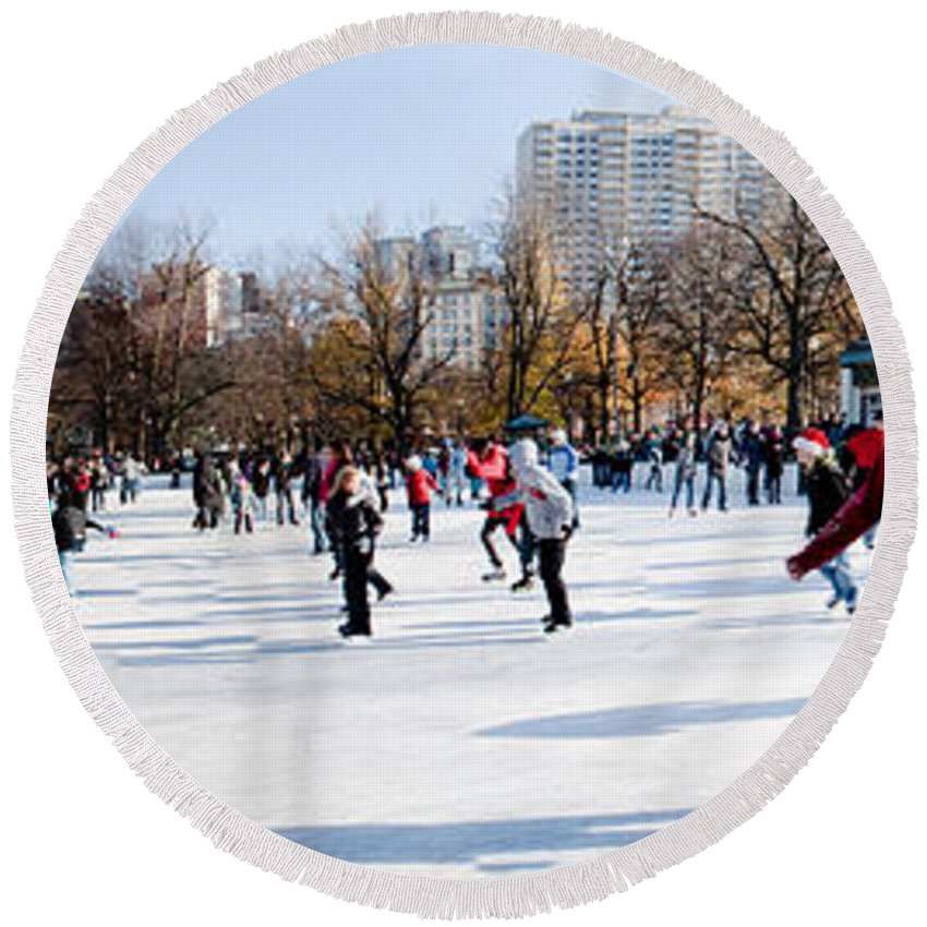 Boston Round Beach Towel featuring the photograph Frog Pond Skating Rink Boston by Thomas Marchessault